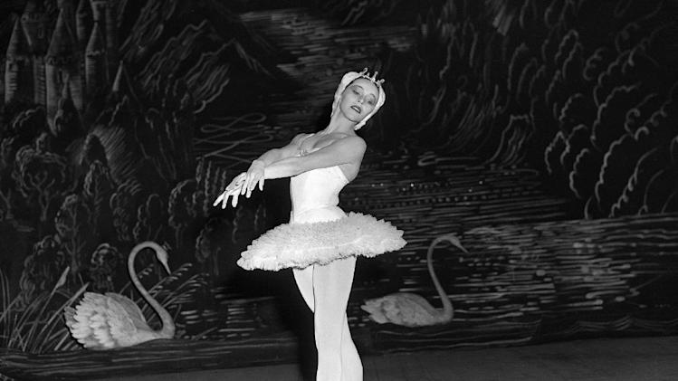 "FILE - This Sept. 14, 1953 file photo shows Maria Tallchief, prima ballerina of the New York City Ballet, in Tschaikowsky's ""Swan Lake"" during the opening performance of the company's engagement at the Scala Theater in Milan, Italy. Tallchief died  died Thursday, April 11, 2013, in Chicago at the age of 88. Tallchief joined the company that would become the New York City Ballet in 1948. She was married for a time to George Balanchine, who founded the School of American Ballet in New York. Tallchief worked with Balanchine on such masterpieces as 1949's ""Firebird"" and his now-historic version of ""The Nutcracker."" (AP Photo, file)"