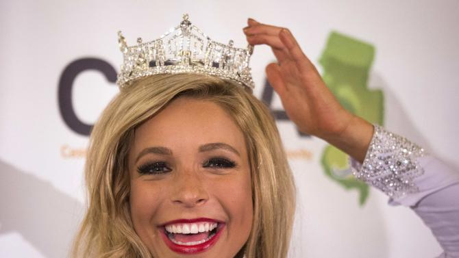 Miss New York Kira Kazantsev poses during a news conference after she was crowned 2015 Miss America in Atlantic City, New Jersey