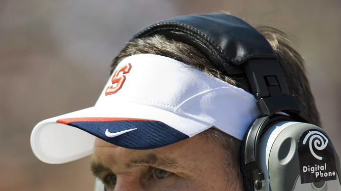 FILE - in this Oct. 9, 2010, file photo, Syracuse coach Don Marrone watches his team play South Florida during an NCAA college football game in Tampa, Fla. Marrone reached an agreement to become the Buffalo Bills' new coach Sunday, Jan. 6, 2013, three people familiar with the negotiations told The Associated Press. One person said the sides were still putting the finishing touches on the contract for Marrone to sign. (AP Photo/Steve Nesius, File)