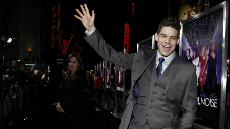 "Cast member Jeremy Jordan arrives at the premiere of ""Joyful Noise"" in Los Angeles, Monday, Jan. 9, 2012. ""Joyful Noise"" will be released in theaters Jan. 13, 2012. (AP Photo/Matt Sayles)"