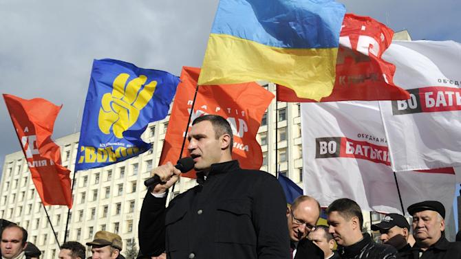 Chairman of the Ukrainian opposition party Udar (Punch) and WBC Heavyweight Champion boxer Vitali Klitschko speaks during a rally outside the Central Election Commission in Kiev, Ukraine, Tuesday, Nov. 6, 2012. Ukraine's election authorities on Monday called for a recount of the results of last month's parliamentary vote in five disputed districts, saying tallying there had been unlawful — a small but significant victory for opposition forces. (AP Photo/Sergei Chuzavkov)