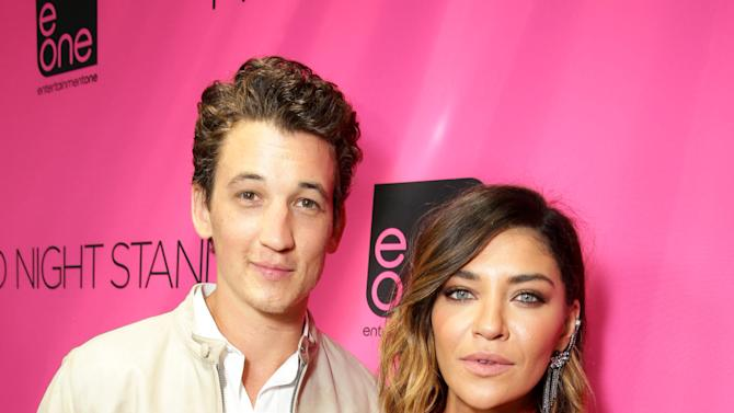 "Miles Teller and Jessica Szohr seen at eONE Films US Los Angeles Premiere of ""Two Night Stand"" on Tuesday, Sep 16, 2014, in Los Angeles. (Photo by Eric Charbonneau/Invision for eONE Films US/AP Images)"