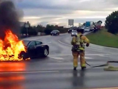 tesla car fire