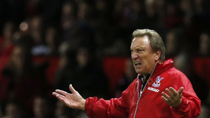 File photograph shows Crystal Palace manager Neil Warnock reacting during their English Premier League soccer match against Manchester United at Old Trafford in Manchester
