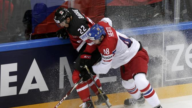 Hertl of the Czech Republic checks Canada's Barrie against the boards during their Ice Hockey World Championship game against Sweden at the O2 arena in Prague