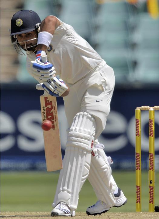 India's Kohli plays a shot during the first day of their cricket test match against South Africa in Johannesburg