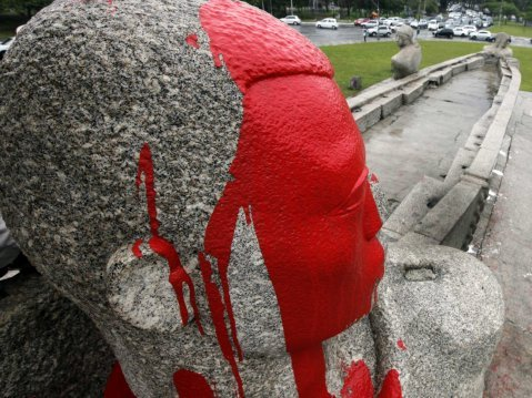 red paint sculpture