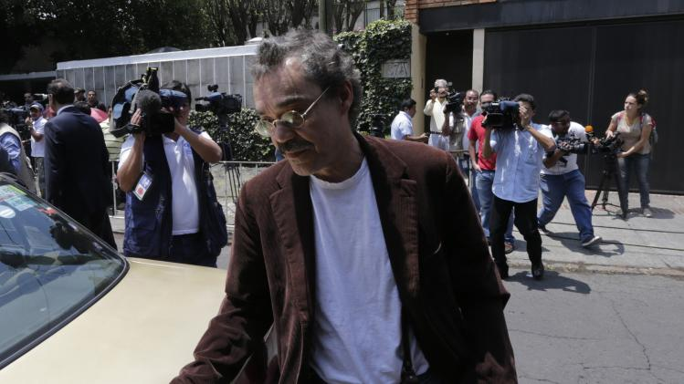 Gonzalo Garcia Barcha, son of Colombian Nobel Prize laureate Gabriel Garcia Marquez, arrives at his father's home in Mexico City