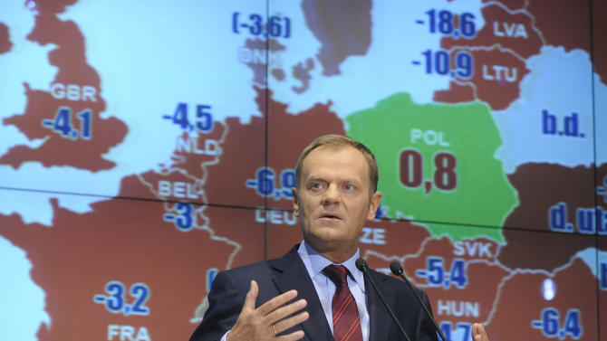 FILE - In this May 29, 2009, file photo, then Polish Prime Minister Donald Tusk speaks during a press conference at the Warsaw Stock Exchange, with a map of Europe behind him showing Poland as a green island with an economic growth compared to other European countries, with red marking negative growth, in Warsaw, Poland. Despite an economic boom in Poland that has benefited many, there are huge numbers of Poles living with low wages and job insecurity. The situation has led many to leave Poland and is causing frustrated voters to reject the pro-market policies of Civic Platform, the party once run by Tusk which has been in power for eight years. (AP Photo/Alik Keplicz)
