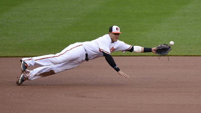 A ball hit by Chicago White Sox' Todd Frazier gets by Baltimore Orioles third baseman Manny Machado during the fourth inning of a baseball game, Sunday, May 1, 2016, in Baltimore. Baltimore Orioles shortstop J.J. Hardy, not seen, was able to get the ball and throw it to first to get out Frazier on the play. (AP Photo/Nick Wass)