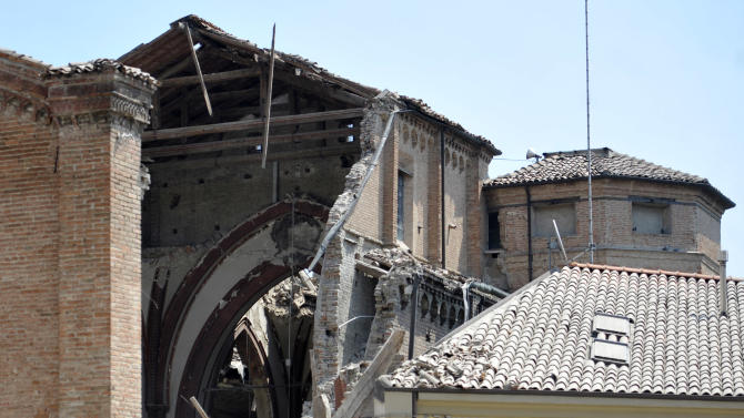 A collapsed church is seen in Mirandola, northern Italy, Tuesday, May 29, 2012.  A magnitude 5.8 earthquake struck the same area of northern Italy stricken by another fatal tremor on May 20. (AP Photo/Marco Vasini)