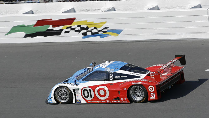 The Ganassi Racing BMW Riley (01) drives practice laps during a practice session for the Rolex 24 hour auto race at Daytona International Speedway, Friday, Jan. 25, 2013, in Daytona Beach, Fla. (AP Photo/John Raoux)