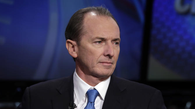 FILE - In this Friday, Jan. 18, 2013, file photo, Morgan Stanley CEO James Gorman is interviewed on the Fox Business Network, in New York. Morgan Stanley reports quarterly earnings on Friday, Oct. 18, 2013. (AP Photo/Richard Drew, File)