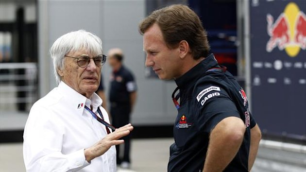 Formula One supremo Bernie Ecclestone (L) chats with Red Bull racing team principal Christian Horner at Istanbul Park circuit ahead of the Turkish F1 Grand Prix in Istanbul (Reuters)