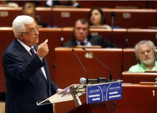 Palestinian President Mahmoud Abbas delivers his statement to the members of the Council of Europe in Strasbourg, eastern France, Thursday, Oct. 6, 2011. Abbas has addressed the parliamentary assembly of the 47-member Council of Europe after appealing last month for United Nations recognition of a Palestinian state, which is opposed by the United States and Israel. Abbas is urging European countries that have expressed past willingness to recognize a Palestinian state that
