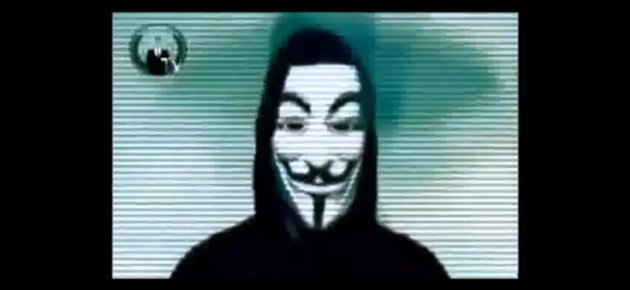 "A screengrab of a video, purportedly uploaded by international hacker group ""Anonymous"", which threatened an impending attack on the Singapore government. (Screengrab from YouTube)"