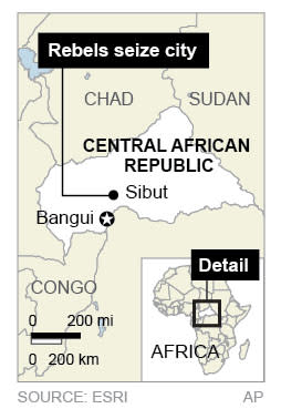 Map locates the Central African Republic and city of Sibut