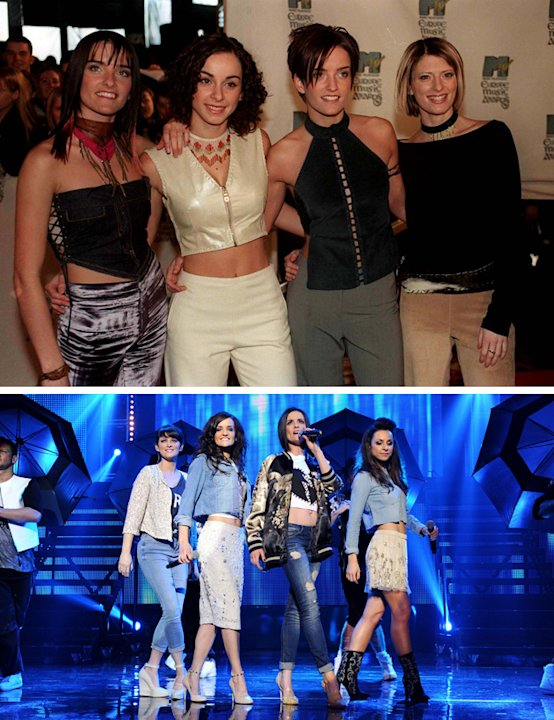 Big Reunion bands before and after: B*Witched were known for their love of double denim back in the day [Above] At the reunion gig, they played tribute to that in stylised denim outfits. [Below] Copyr