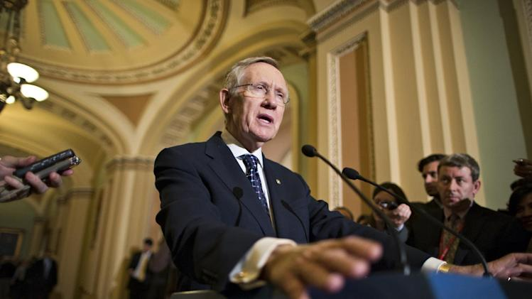 Senate Majority Leader Harry Reid, D-Nev., speaks with reporters following a Democratic strategy session at the Capitol in Washington, Tuesday, Jan. 22, 2013. (AP Photo/J. Scott Applewhite)