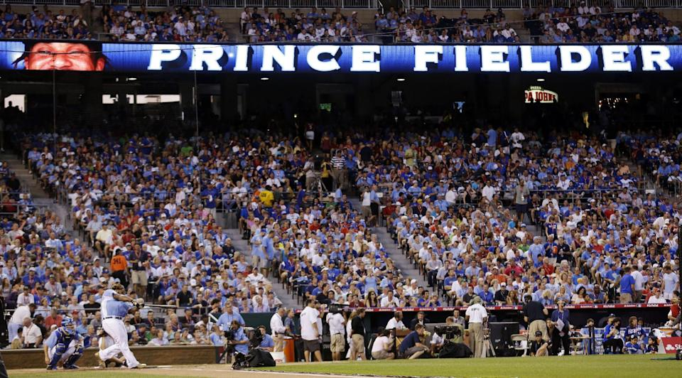 American League's Prince Fielder, of the Detroit Tigers, competes during the second round of the MLB All-Star baseball Home Run Derby, Monday, July 9, 2012, in Kansas City, Mo. (AP Photo/Charlie Riedel)