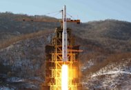 Image taken by the Korean Central News Agency on December 12, 2012 shows the Unha-3 rocket lifting off from North Pyongan province in North Korea. Pyongyang insists the December launch put a satellite into orbit for peaceful research, but critics said it amounted to a banned ballistic missile test