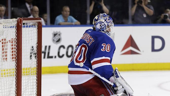 New York Rangers goalie Henrik Lundqvist blocks a shot against the Boston Bruins during the first period in Game 3 of the NHL Eastern Conference semifinal hockey playoff series on Tuesday, May 21, 2013, in New York. (AP Photo/Seth Wenig)