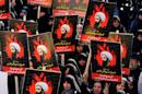 Iranian women rally against the execution of prominent Shiite Muslim cleric Nimr al-Nimr by Saudi authorities in Tehran's Imam Hossein Square on January 4, 2016