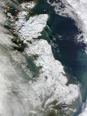 Britain Blanketed by Snow in New Satellite Image