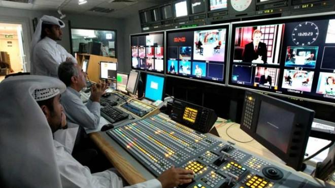 Producers in the Doha, Qatar, studio of the Al Jazeera network.