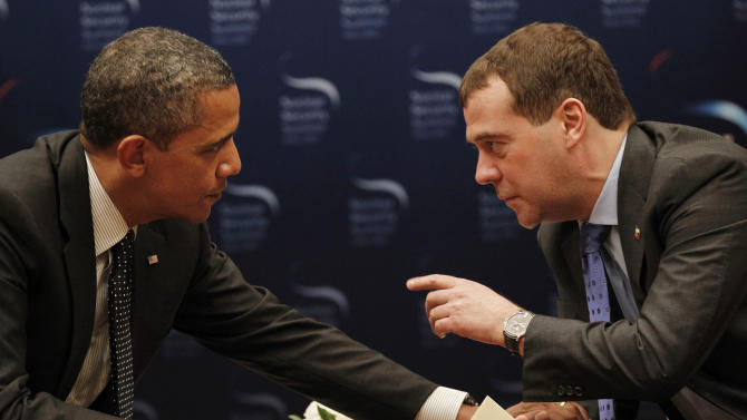 "FILE - In this March 26, 2012, file photo, President Barack Obama, left, chats with Russian President Dmitry Medvedev during a bilateral meeting at the Nuclear Security Summit in Seoul, South Korea. Mitt Romney's remarks disparaging 47 percent of Americans are the latest in a string of poorly chosen words that play into Democrats' portrayal of him as out of touch. But he's not the only one plagued by a campaign gaffe deemed elitist by critics. an open microphone caught Obama telling Russia's outgoing president that he needed space to work out their disagreements over U.S. missile defense plans. ""After my election, I have more flexibility,"" Obama quietly told Medvedev, who said he would carry that message home. Romney called it evidence that Obama is hiding a secret agenda for a second term. (AP Photo/Pablo Martinez Monsivais, File)"