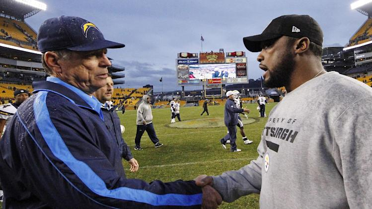 Pittsburgh Steelers head coach Mike Tomlin, right, talks with San Diego Chargers head coach Norv Turner after the Charger's 34-24 win in an NFL football game in Pittsburgh, Sunday, Dec. 9, 2012. (AP Photo/Gene J. Puskar)