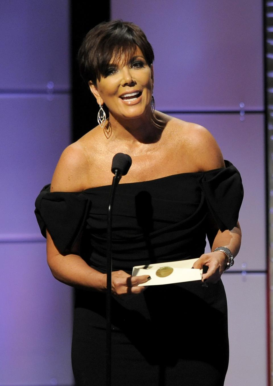 Kris Jenner presents the award for outstanding talk show host at the 40th Annual Daytime Emmy Awards on Sunday, June 16, 2013, in Beverly Hills, Calif. (Photo by Chris Pizzello/Invision/AP)