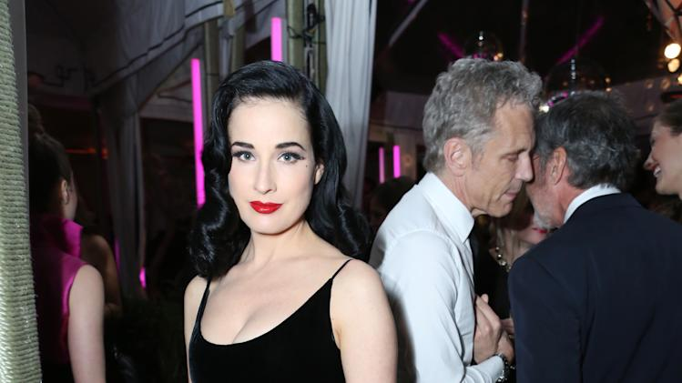 IMAGE DISTRIBUTED FOR InStyle - Dita Von Teese attends Warner Music Group 2013 GRAMMY celebration along with InStyle presented by Mini at Chateau Marmont on Sunday, Feb. 10, 2012 in West Hollywood, Calif. (Photo by Casey Rodgers/Invision for InStyle/AP Images)