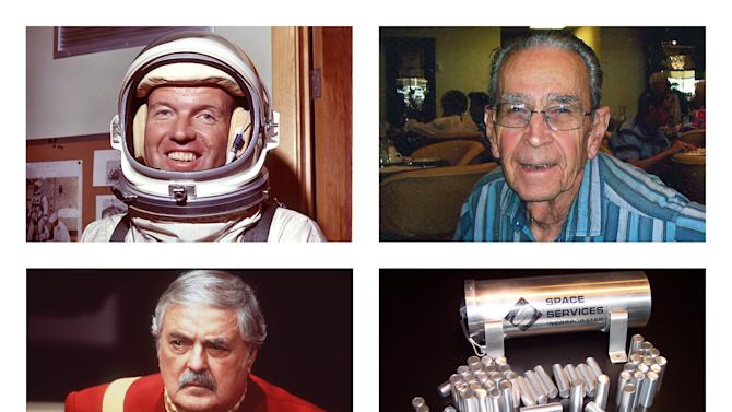 This combination of photos shows astronaut Gordon Cooper, top left; Bob Shrake, an engineer who designed spaceship control instruments for NASA's Jet Propulsion Lab, top right; actor James Doohan, bottom left; and capsules from Space Services Inc. These three men who made space their lives are also making space their final resting place. Their ashes - and hundreds of others' - in capsules from Space Services Inc. were aboard the Falcon 9 rocket that blasted into orbit Tuesday, May 19, 2012 as part of an in-space burial business. (AP Photo/NASA, Shrake Family, Paramount Pictures, Space Services Inc.)