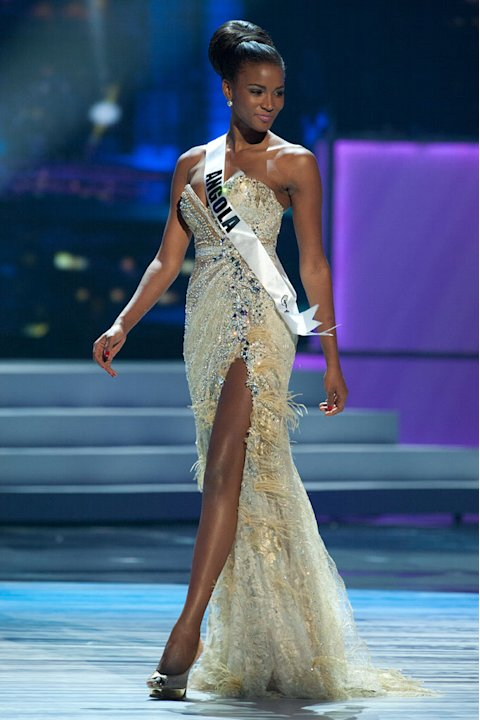 "Miss Angola 2011, Leila Lopes competes in her choice evening gown, as one of the top 10 contestants, during the ""60th Annual Miss Universe"" presentation show from São Paulo, Brazil."