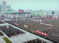 This TV grab taken off North Korea's state television shows troops and civilians at Pyongyang's Kim Il-Sung Square. Tens of thousands of North Koreans have rallied, screaming hatred for South Korean President Lee Myung-Bak and calling for his death over alleged insults during the North's anniversary celebrations