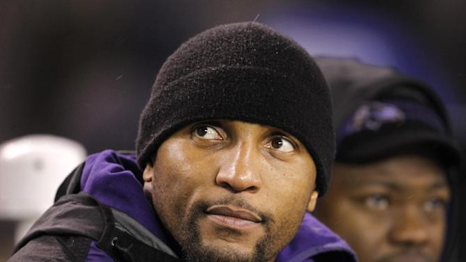 Baltimore Ravens linebacker Ray Lewis, sits on the bench during his team's 24-10 win over the Cleveland Browns in an NFL football game on Sunday, Dec. 4, 2011, in Cleveland. Lewis did not play in the game. (AP Photo/Amy Sancetta)