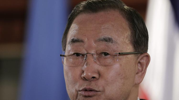 United Nations Secretary-General Ban Ki-moon speaks to the media in San Jose
