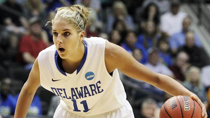 FILE - In this March 18, 2012, file photo, Delaware's Elena Delle Donne (11) dribbles against Arkansas-Little Rock during an NCAA tournament first-round women's college basketball game in Little Rock, Ark. Delle Donne was a unanimous choice to join The Associated Press' women's basketball preseason All-America team, receiving all 40 votes from a national media panel Tuesday, Oct. 30. (AP Photo/Danny Johnston, File)