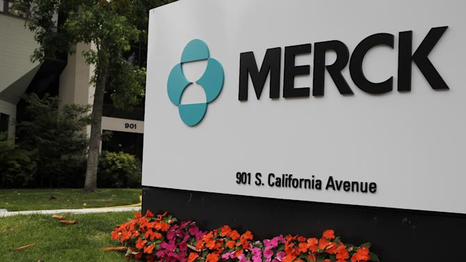 FILE - This Tuesday, July 17, 2012, file photo shows the exterior of the Merck offices in Palo Alto, Calif. Drugmaker Merck & Co. said Friday, Oct. 26, 2012 that third-quarter profit rose 2 percent as reduced spending on overhead offset lower sales due to new generic competition for its top-selling drug. The company beat Wall Street's profit expectations and narrowed its 2012 profit forecast, to a range of $2.08 to $2.24 per share, from its July forecast of $2.04 to $2.30. (AP Photo/Paul Sakuma, File)