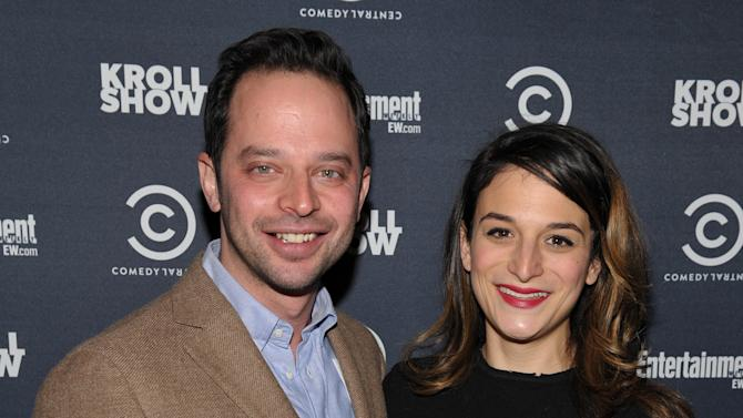 """Actor/comedian Nick Kroll, left, and actress Jenny Slate attend an exclusive screening of Comedy Central's """"Kroll Show"""" hosted by Entertainment Weekly on Tuesday, January 15, 2013 at LA's Silent Movie Theatre in Los Angeles. (Photo by John Shearer/Invision for Entertainment Weekly/AP Images)"""