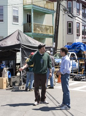 Director Ben Affleck and Casey Affleck on the set of Miramax Films' Gone Baby Gone