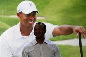 Tiger Woods smiles during a promotional event at the Venetian Macao in Macau