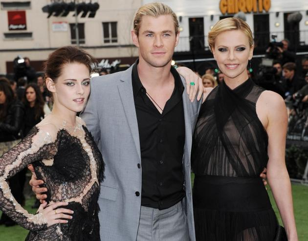 Kristen Stewart, Chris Hemsworth and Charlize Theron attend the world premiere of 'Snow White and The Huntsman' at in London on May 14, 2012  -- Getty Images