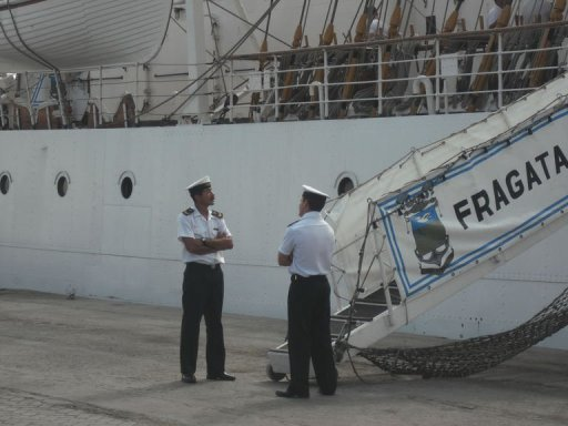 <p>The Argentine frigate Libertad, seized in a port in Ghana in connection with a debt dispute, is docked October 9, 2012 at Tema Port near Accra. Argentina prepared to evacuate more than 300 crew members from the ship since a court ordered its seizure nearly three weeks ago over a debt dispute.</p>