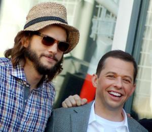 "Jon Cryer with his new ""Two and a Half Men"" co-worker Ashton Kutcher."