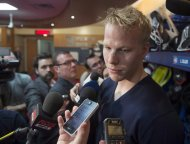 "Montreal Canadiens centre Lars Eller speaks to reporters Saturday, May 11, 2013 in Brossard, Que. Eller admitted he used a ""poor choice of words"" when he characterized the Edmonton Oilers as a junior team. THE CANADIAN PRESS/Ryan Remiorz"