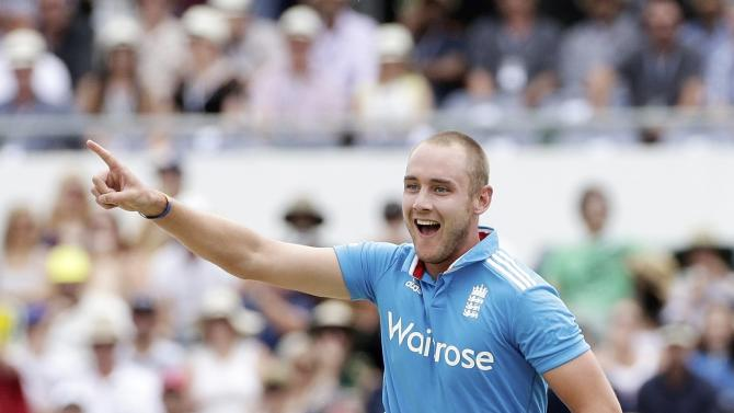 England's Stuart Broad celebrates after taking the wicket of Australia's George Bailey during their One Day International tri-series cricket final match at the WACA ground