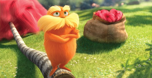 In this film image released by Universal Pictures, animated character Lorax, voiced by Danny Devito, is shown in a scene from &quot;Dr. Seuss&#39; The Lorax.&quot; Universal&#39;s Dr. Seuss&#39; The Lorax has taken root at the top of the domestic box office, with robust midweek growth of more than $3 million per day and a likely second-weekend gross of around $50 million following its year-topping $70 million opening. (AP Photo/Universal Pictures)