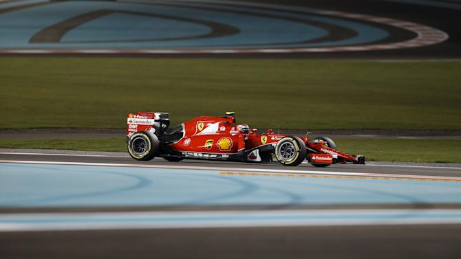 Ferrari Formula One driver Kimi Raikkonen of Finland drives during the second free practice session of Abu Dhabi F1 Grand Prix at the Yas Marina circuit in Abu Dhabi